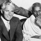 Mahatma Gandhi and Charlie Chaplin together in one frame (old picture)