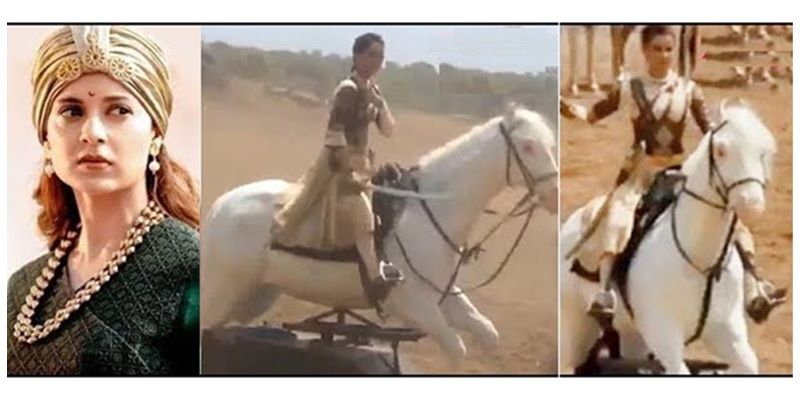 Kangana riding a mechanical horse (behind the scenes video)
