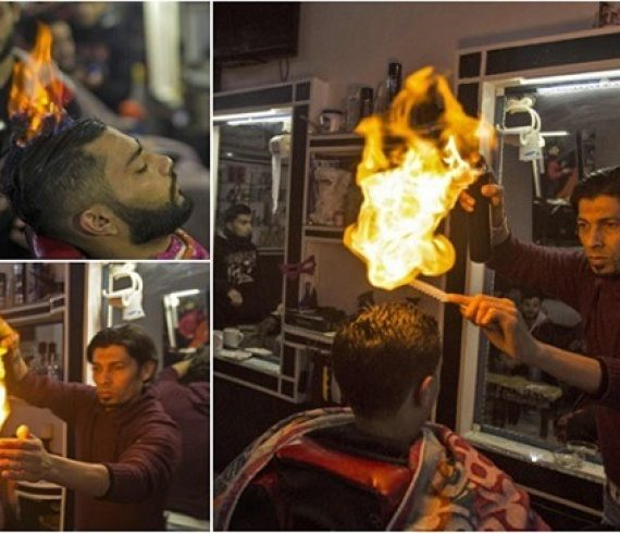 palestinian barber hair styling fire