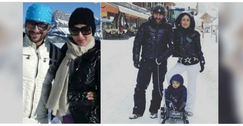 Saif, kareena, Taimur in Gstaad, Switzerland